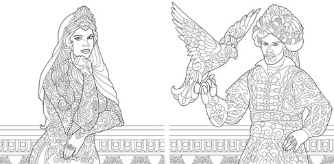 Coloring book. Coloring page. Turkish woman. Ottoman sultan with hawk (falcon) bird. Arabic and islamic filigree decor. Freehand sketch drawing with doodle and zentangle elements.