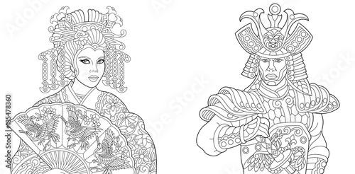 Coloring book. Coloring page. Geisha (oriental dancing actress ...