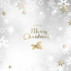 Merry Christmas with many snowflakes on light silver background.