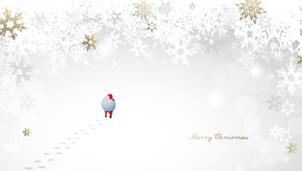 Merry Christmas with many snowflakes on light silver background with walking Santa Claus.