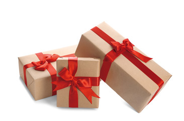 Parcel gift boxes on white background