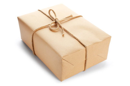 Parcel gift box on white background