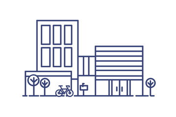 Fototapete - Living city building in contemporary architectural style surrounded by trees and bicycle parked beside it. Modern dwelling drawn with blue contour lines on white background. Vector illustration.