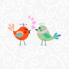 Two happy cute bird in love with the heart. Happy Valentine's day Card.