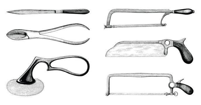 Vintage medical amputation set hand drawing engraving style