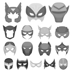 Carnival mask monochrome icons in set collection for design.Mask on the eyes and face vector symbol stock web illustration.