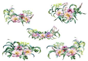 Romantic watercolor Emerald flowers branch bouquet