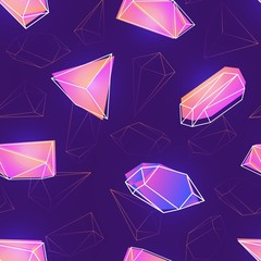Seamless pattern with natural pink gemstones, mineral crystals or precious and semiprecious faceted stones and their outlines on purple background. Vector illustration for wallpaper, textile print.