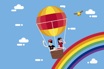 Boy and Girl Flying in a Hot Air Balloon