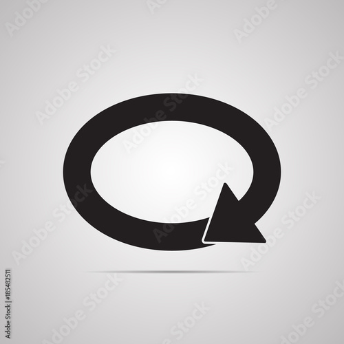 Silhouette Flat Icon Simple Vector Design With Shadow Oval With