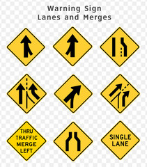 Road sign. Warning. Lanes and Merges.  Vector illustration on transparent background