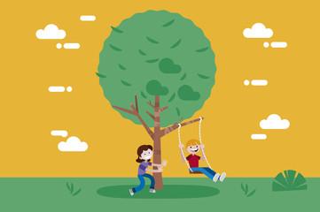 Children swinging on a Swing Tree