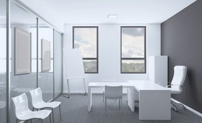 Open space office interior with like conference room. Mockup. 3D rendering.