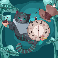 Illustration of Cheshire cat on wonderland background with cap of tea, pocket watch, hat, bottle of the elixir, mushrooms.