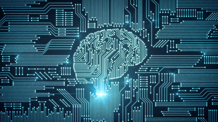 Blue motherboard brain in circuitry graphic