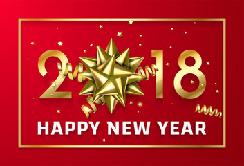 Vector gold 2018 Christmas or Chinese New Year red celebration premium black background with golden frame and gift ribbon bow and gold glittering stars confetti glitter decoration.