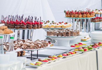 catering, buffet table with desserts