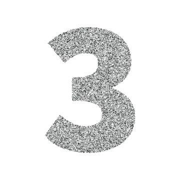 Silver glitter alphabet number 3