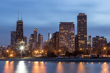 Chicago skyline with lake Michigan in foreground