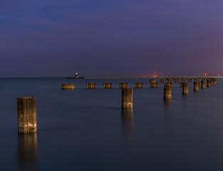 Pylons working through lake Michigan