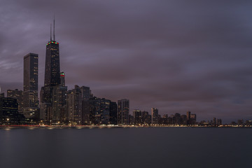 Evening view of Chicago skyline with lake