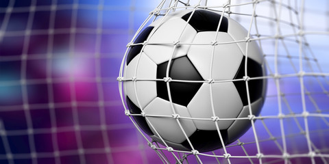 Football soccer ball in goal, blue background. 3d illustration