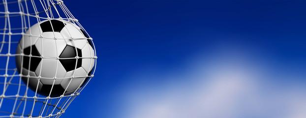 Football soccer ball in goal, blue sky background. 3d illustration