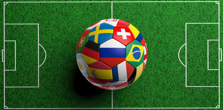 Football soccer ball with world flags on green grass background. 3d illustration