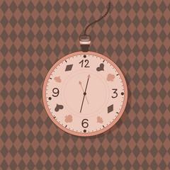 Alice in Wonderland watch label.  vintage clock card. Invitation sticker.