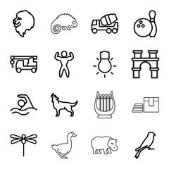 Logo icons. set of 16 editable outline logo icons