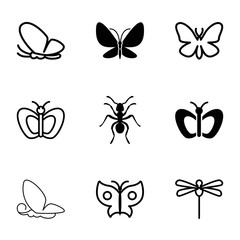 Butterfly icons. set of 9 editable filled and outline butterfly icons