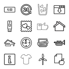 Button icons. set of 16 editable outline button icons