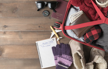 prepare accessories and travel items for winter trip Fototapete
