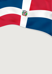 Wall Mural - Leaflet design with flag of Dominican Republic. Vector template.