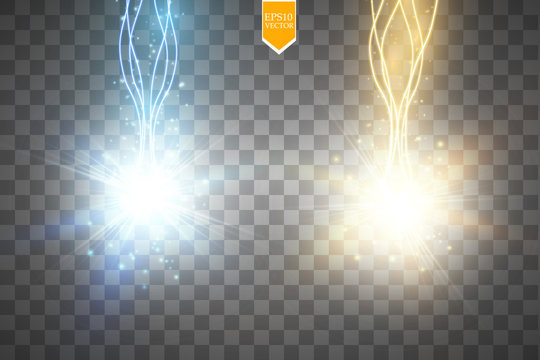 Glow isolated blue and gold transparent effect, lens flare, explosion, glitter, line, sun flash, spark and stars. For illustration template art design, banner for Christmas celebrate, magic flash