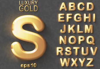 Golden glitter 3D uppercase english letters.