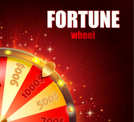 Symbol of spinning fortune wheel in realistic style. Shiny lucky roulette for your design on red glowing background with place for your text. Vector illustration.