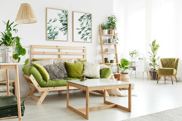 Eco living room with plants Wall mural
