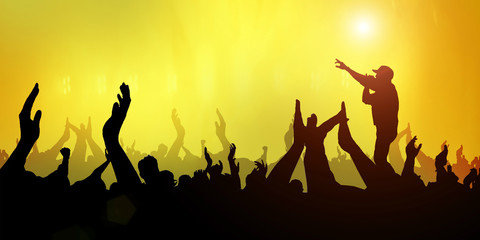 Concert Crowd Party Music Band Festival Abstract Light yellow on Background