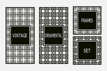 Set of vintage  frames border with beautiful filigree ornamental frame, decorative ornate vintage borders, retro element. Classic ornamental set of  vintage frames templates, borders and elements