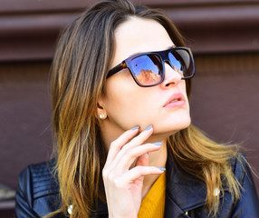 Lady has rest during coffee break. Girl with sunglasses