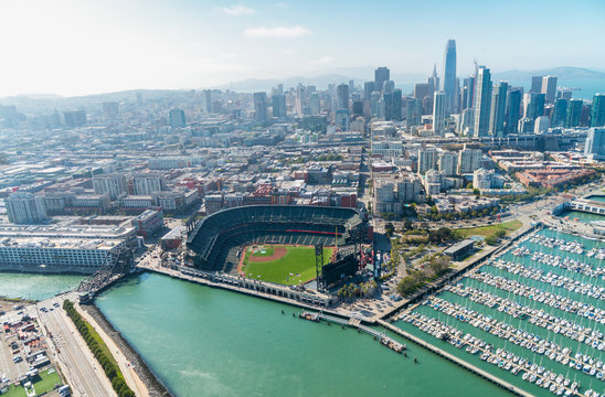 Aerial view of San Francisco skyline on a beautiful sunny summer day