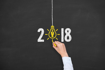 New Year 2018 Human Resource Concepts on Blackboard Background