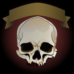 Greeting card with skull and ribbon for text on a dark background