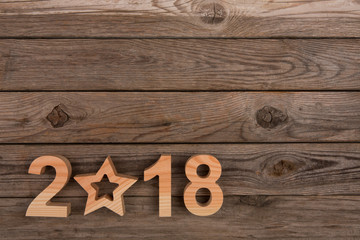 New year concepts 2018 with wooden numbers