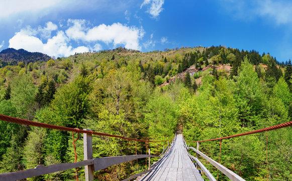 Georgia. Caucasus. Wooden suspension bridge