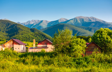 village in Fagaras mountains of Romania. Lovely rural scenery in evening