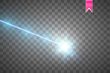 Abstract blue laser beam. Isolated on transparent black background. Vector illustration, Wall mural