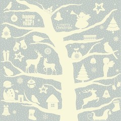 Greeting card with tree and Christmas elements