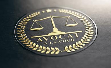 Avocat à la Cour, Signalétique en Relief Couleur Or sur Papier Noir